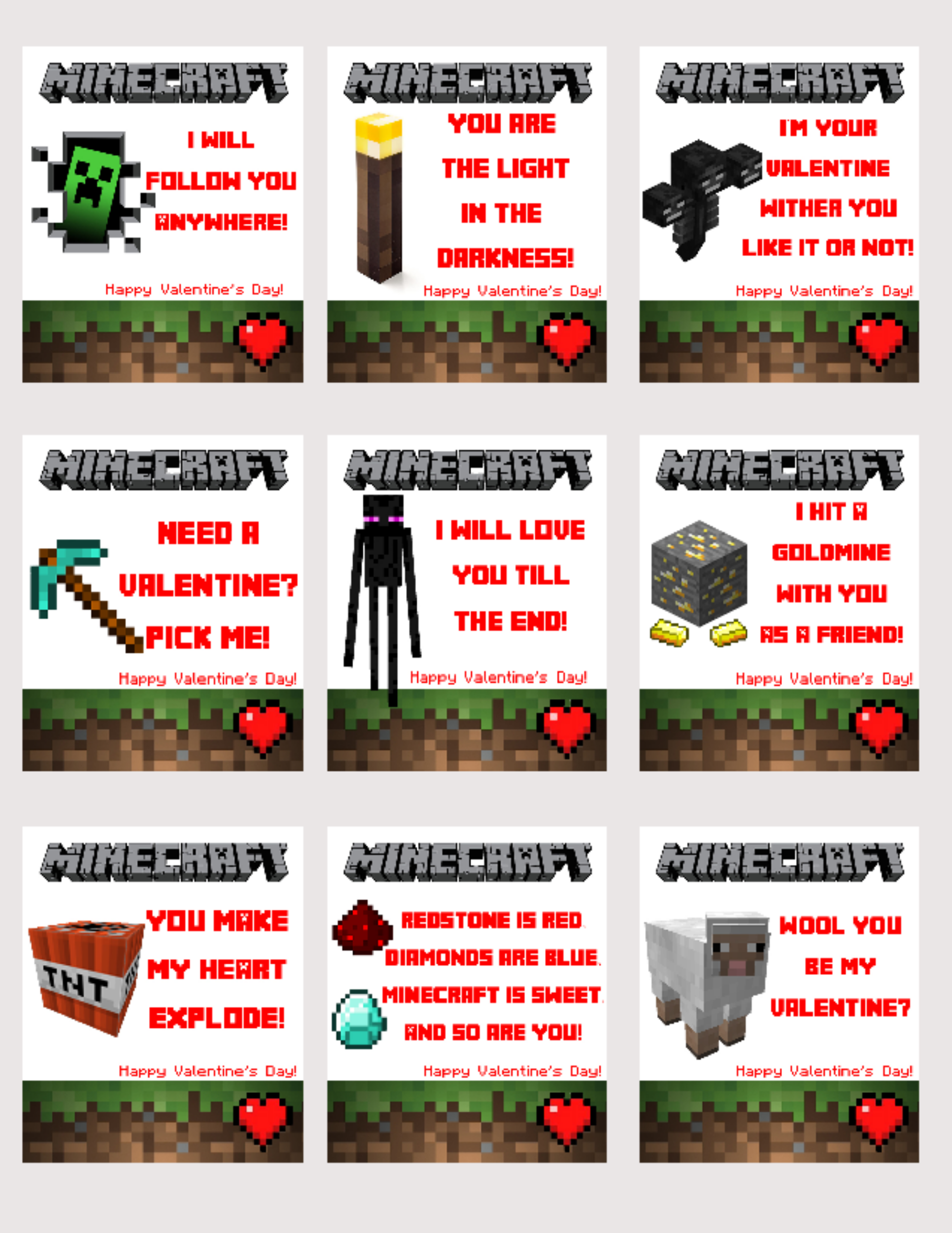 picture regarding Minecraft Printable Valentines known as Cost-free Printable Minecraft Valentines! somebombmom